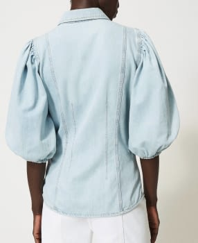 TWINSET camisa vaquera azul claro con manga  abullonada - 3