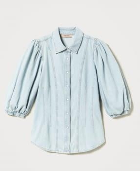 TWINSET camisa vaquera azul claro con manga  abullonada - 4