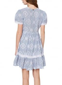TWINSET vestido mil rayas azul marino calado - 2