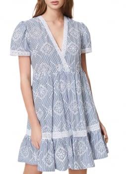 TWINSET vestido mil rayas azul marino calado - 3