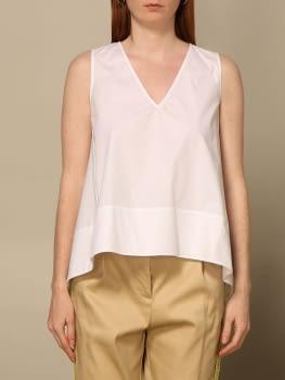 TWINSET camisa sin mangas popelín blanco