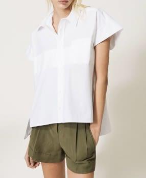 TWINSET maxi camisa blanca