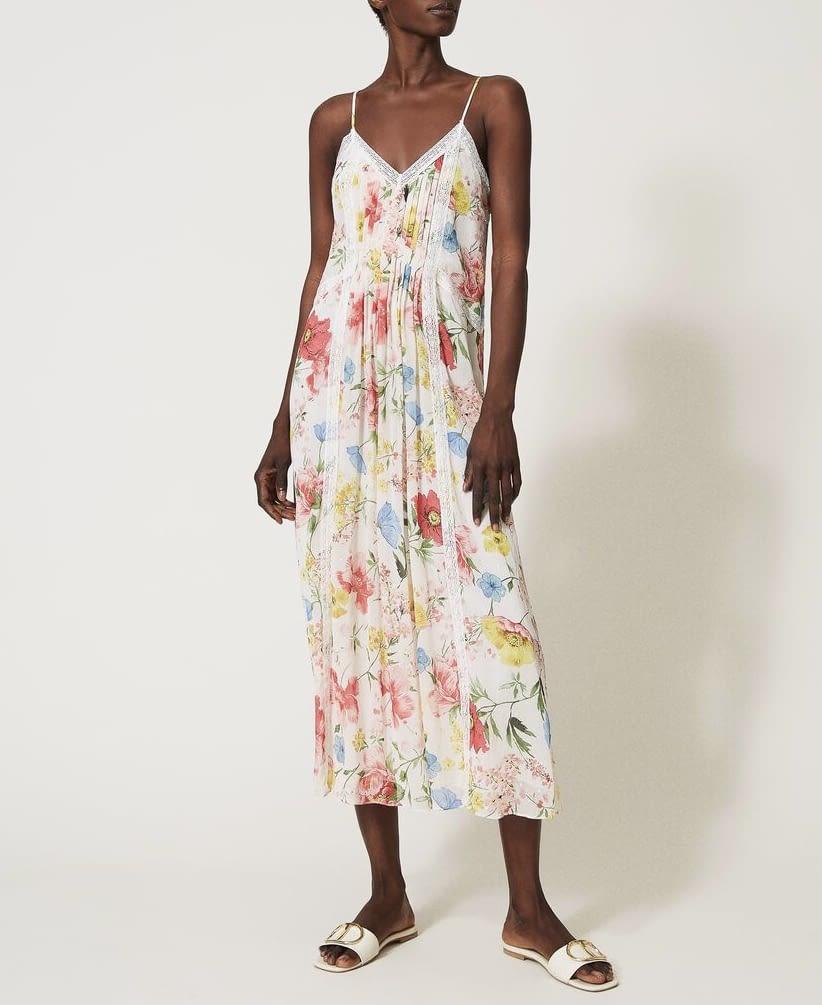 TWINSET vestido largo estampado multicolor