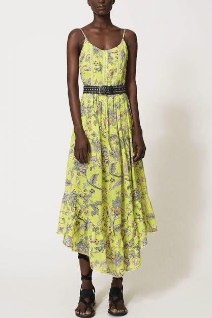 TWINSET vestido tirantes color lima con flores