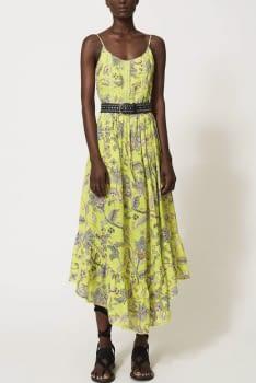 TWINSET vestido tirantes color lima con flores - 1