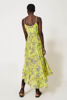 TWINSET vestido tirantes color lima con flores - 3