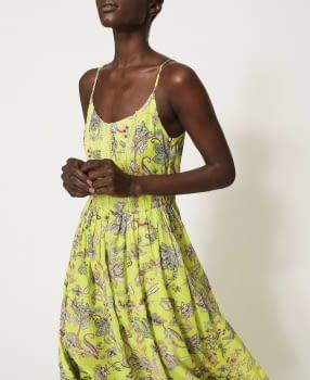 TWINSET vestido tirantes color lima con flores - 4