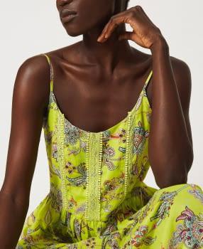 TWINSET vestido tirantes color lima con flores - 5