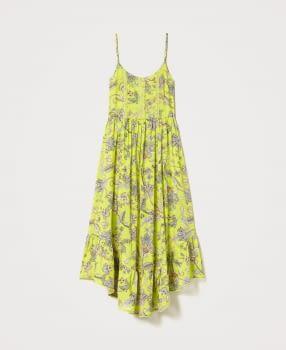 TWINSET vestido tirantes color lima con flores - 6