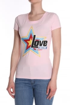 LOVE MOSCHINO  camiseta manga corta rosa estampado estrella