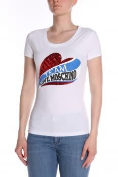 LOVE MOSCHINO  camiseta blanca manga corta lentejuelas