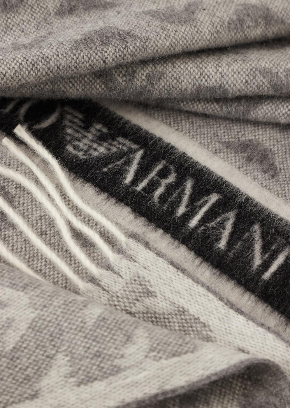 EMPORIO ARMANI foulard en lana gris con logotipo  de águila