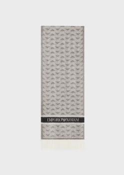 EMPORIO ARMANI foulard en lana gris con logotipo  de águila - 2