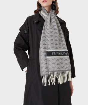 EMPORIO ARMANI foulard en lana gris con logotipo  de águila - 3