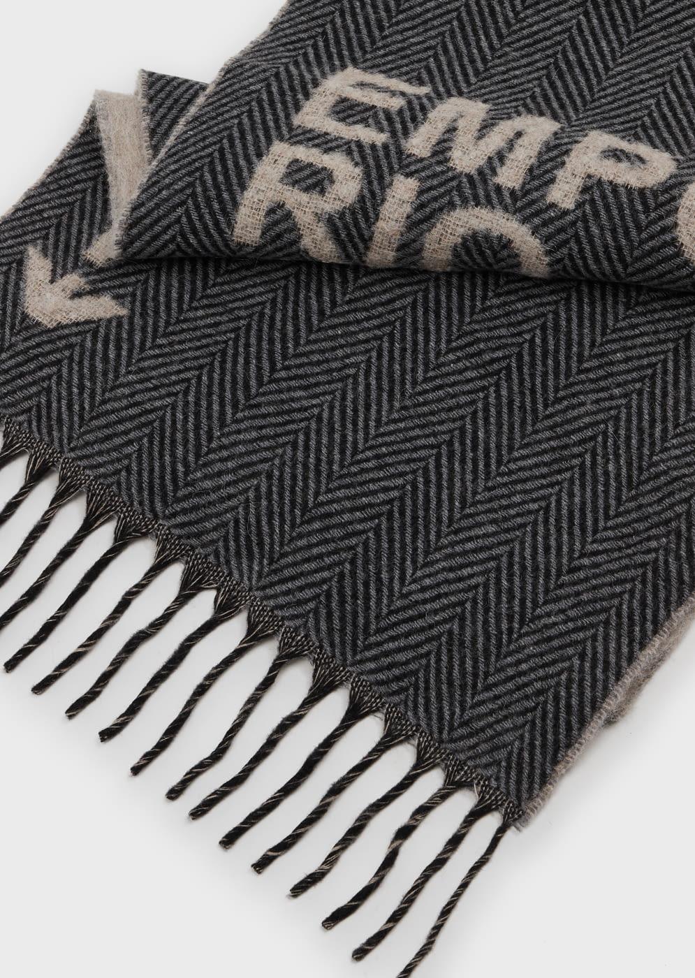 EMPORIO ARMANI foulard gris y beige con logotipo