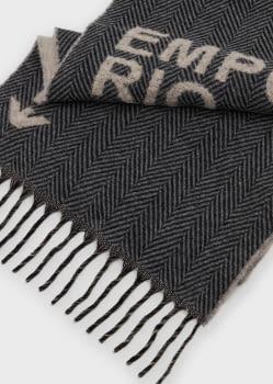 EMPORIO ARMANI foulard gris y beige con logotipo - 1