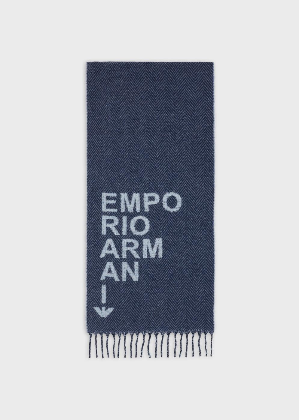 EMPORIO ARMANI foulard en azules con logotipo