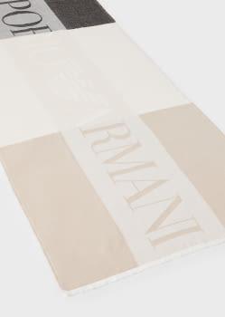 EMPORIO ARMANI foulard logotipo en camel y marrón - 1