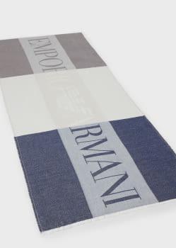 EMPORIO ARMANI foulard logotipo en azul, beige y  marrón - 1
