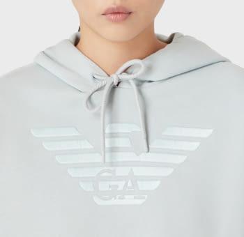 EMPORIO ARMANI sudadera color gris perla con  logotipo y capucha - 2