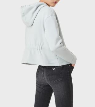EMPORIO ARMANI sudadera color gris perla con  logotipo y capucha - 4