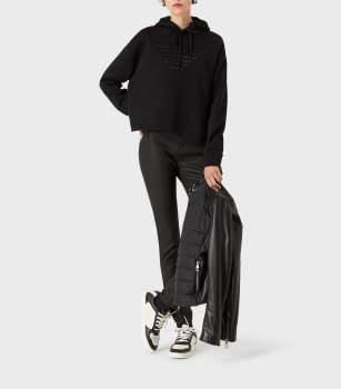 EMPORIO ARMANI sudadera color negro con  logotipo y capucha - 3