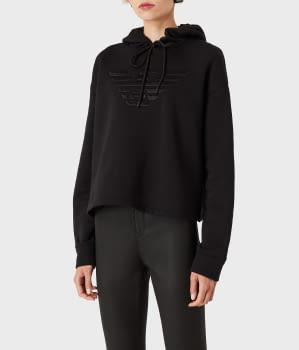 EMPORIO ARMANI sudadera color negro con  logotipo y capucha - 4