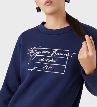 EMPORIO ARMANI sudadera color azul tinta con logo - 1
