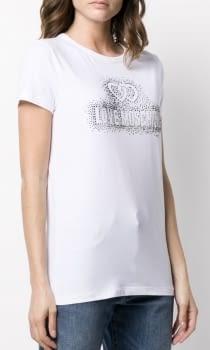 LOVE MOSCHINO camiseta manga corta blanca logotivo con strass