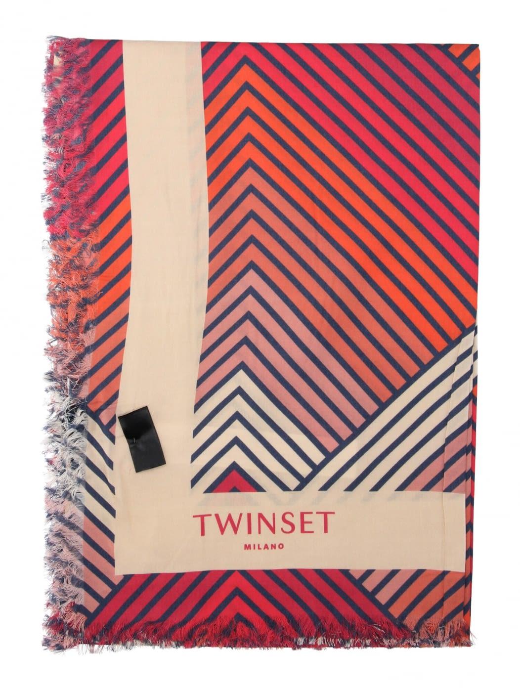 TWINSET pañuelo cuadrado estampado geométrico rojo