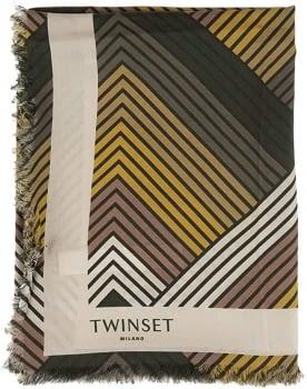 TWINSET pañuelo cuadrado estampado geométrico verde
