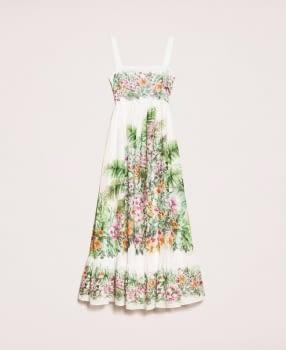 TWINSET vestido largo color crudo estampado flores - 1