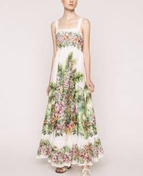 TWINSET vestido largo color crudo estampado flores - 2