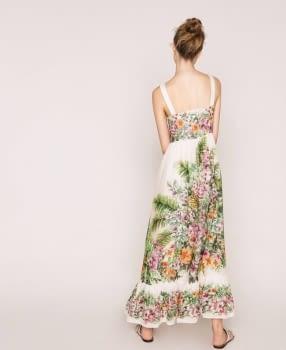TWINSET vestido largo color crudo estampado flores - 3