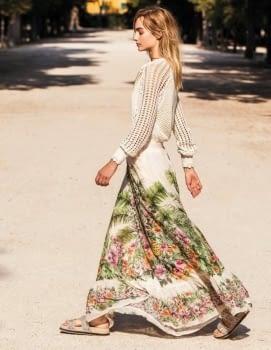 TWINSET vestido largo color crudo estampado flores - 4