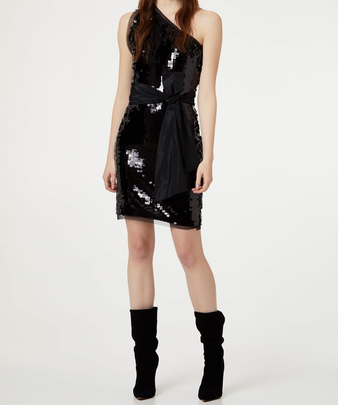 LIU.JO vestido asimétrico con paillete color negro