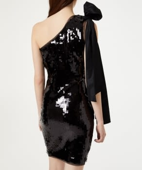 LIU.JO vestido asimétrico con paillete color negro - 3