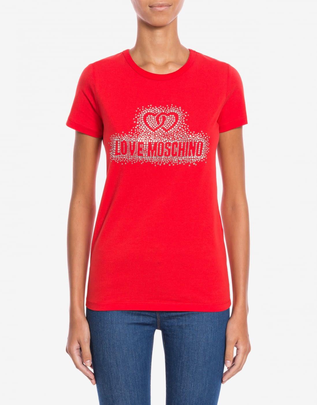LOVE MOSCHINO camiseta roja strass