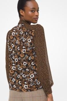 MICHAEL KORS camisa color caramelo estampado  flores - 2