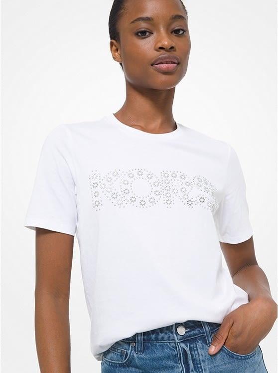 MICHAEL KORS camiseta manga corta blanca tachas