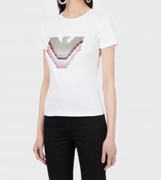 EMPORIO ARMANI camiseta blanca manga corta logo águila paillet - 2