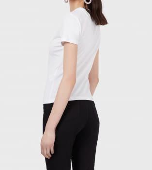 EMPORIO ARMANI camiseta blanca manga corta logo águila paillet - 3