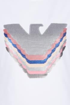 EMPORIO ARMANI camiseta blanca manga corta logo águila paillet - 5