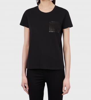 EMPORIO ARMANI camiseta negro  manga corta  con paillet en el bolsillo