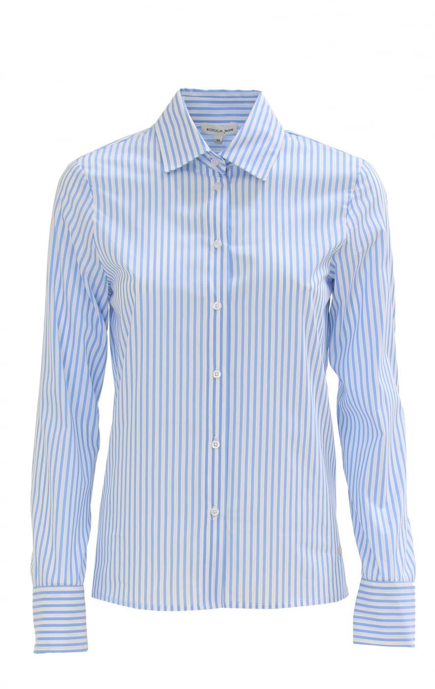 KOCCA camisa algodón rayas blanco y celeste