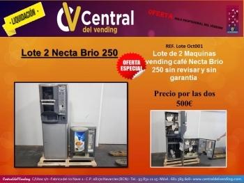 ¡¡LIQUIDACIÓN!! LOTE 2 MAQUINAS VENDING CAFE EN GRANO NECTA BRIO 250 (PROFESIONAL DEL VENDING)