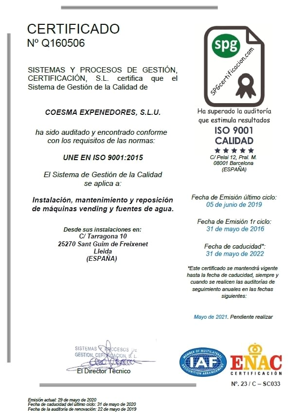 Certificat ISO 9001 Qualitat - Coesma - SPG