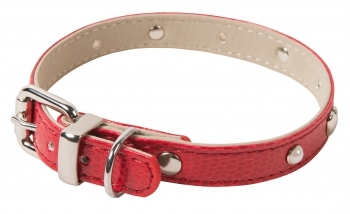 COLLAR HEART ORIGINAL ARTIF. LEATHER ROJO