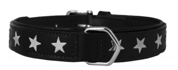 COLLAR LEATHER STAR NEGRO