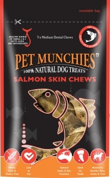 PET MUNCHIES SALMON SKIN CHEWS MEDIUM